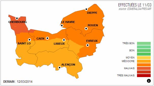 La carte de la qualité de l'air éditée par Air Normand pour la journée de mercredi 12 mars