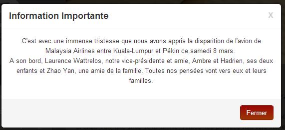 Le message que l'on peut lire sur la page d'accueil du site de l'association des parents d'élèves du lycée français à Pékin