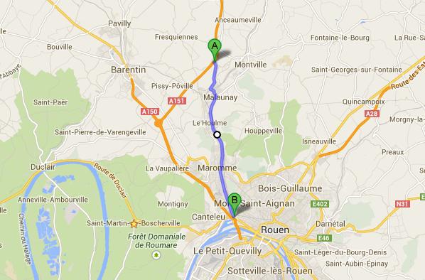 Le poids lourd s'est couché àau niveau de l'embranchement A151/A150 à Roumare. Une déviation est mise en place à partir de Eslettes (A) par la D927 en direction de Maromme et Rouen (B)