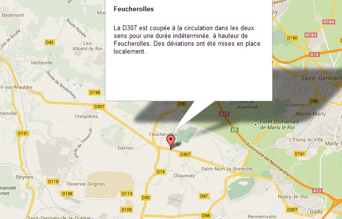 La RD307 coupée à la circulation pour une durée indéterminée dans les Yvelines