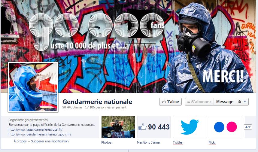 La page de la Gendarmerie nationale sur Facebook existe depuis 2010