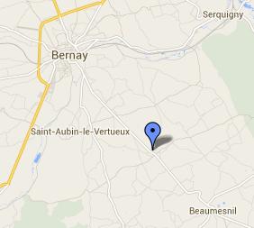 Le face-à-face s'est produit sur la RD140 en pleine ligne droite à hauteur de Granchain, sur l'axe Bernay - Beaumesnil (Google Maps)