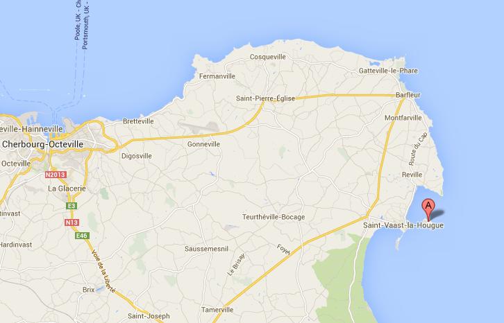 Les recherches ont été concentrées autour de l'île de Tatihou (Google Maps)