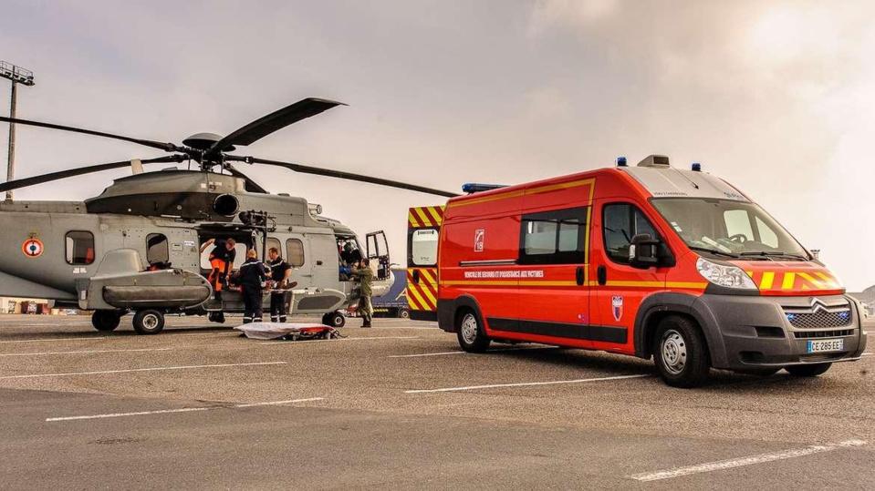 Exercice d'aide médicale en mer au large du Havre mardi 29 avril