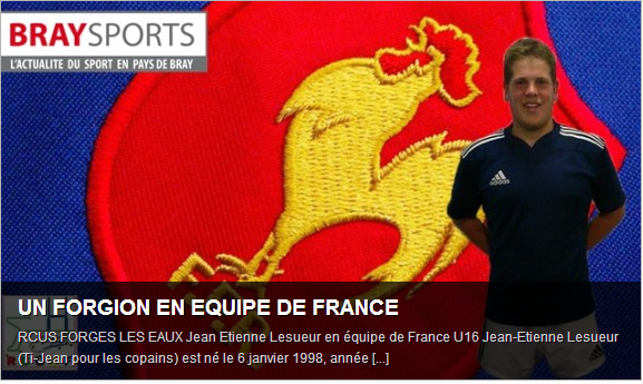 Rugby : Jean Etienne Lesueur (Forges-les-Eaux) en équipe de France U16