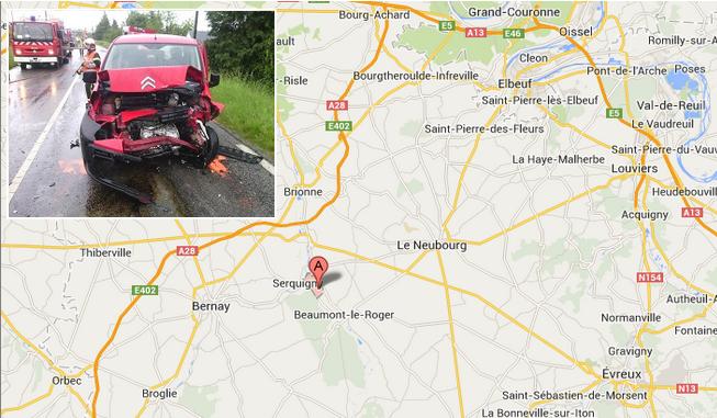 Le face-à-face s'est produit dans une ligne droite à hauteur de la commune de Launay, entre Beaumont-le-Roger et Serquigny @infoNormandie