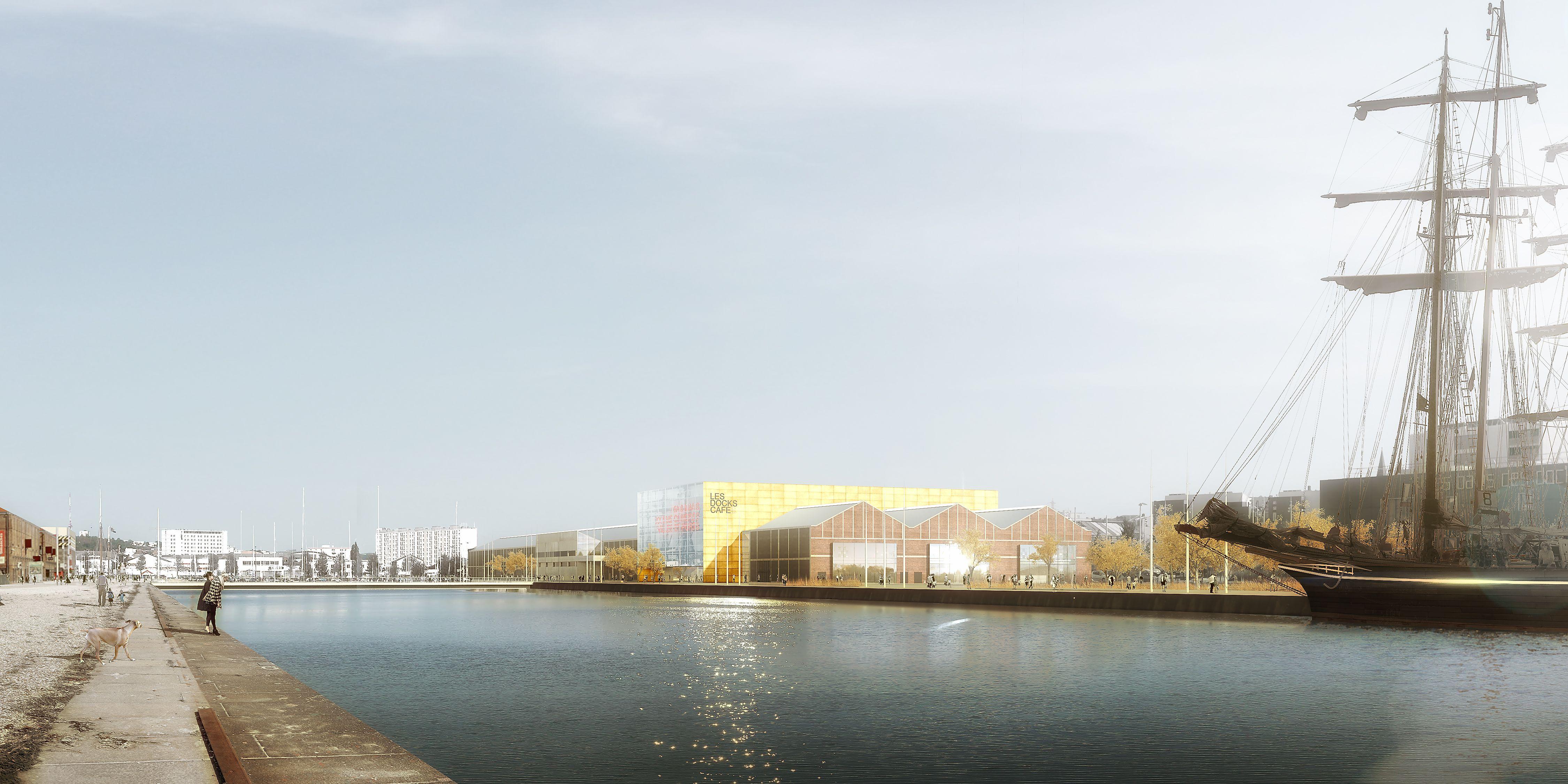 Vue d'artiste du futur centre de spectacles et de congrès du Havre  @Paul Andreu, architecte