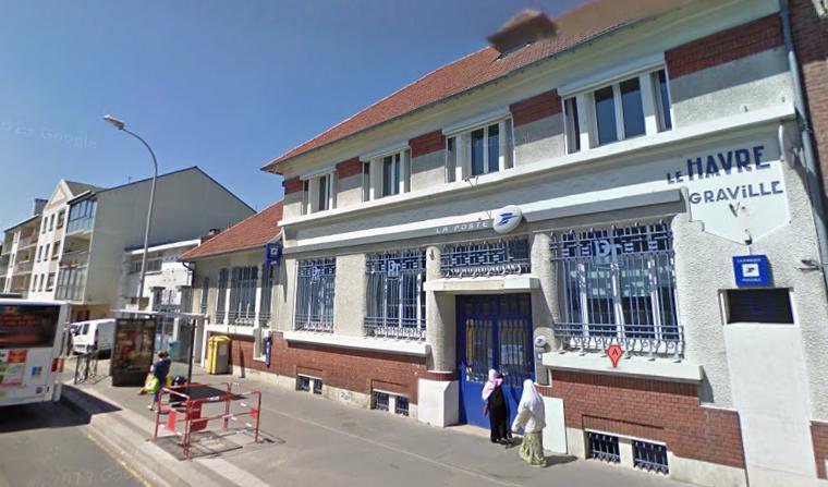 Le bureau de poste de Graville avait déjàé été braqué il y a un peu plus d'un an (@Google Maps)
