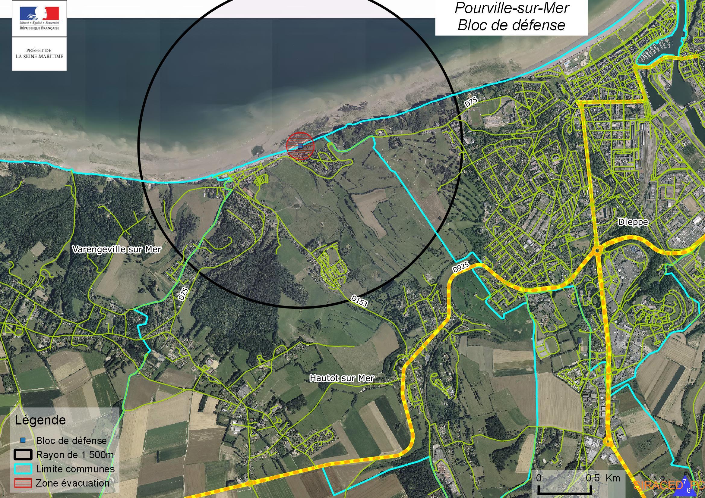 Un périmètre de sécurité et d'évacuation (cercle noir) est mis en place pour assurer la sécurité de l'opération