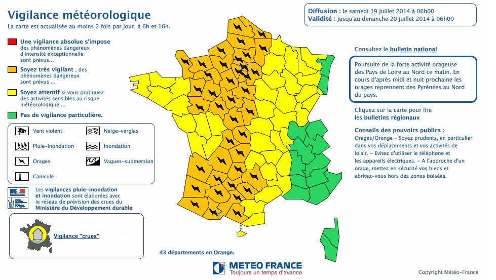 La carte de vigilance publiée par Météo France ce matin (Capture d'écran Météo France)