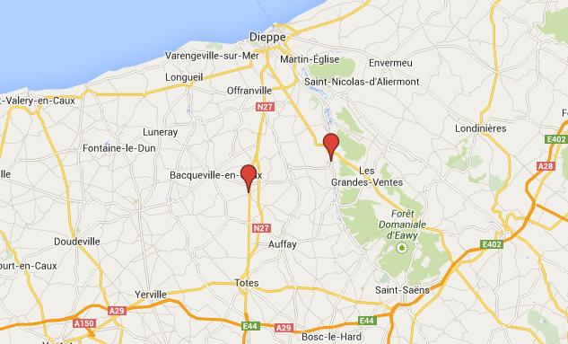 Les communes de Torcy-le-Grand et de Belmesnil, près de Bacqueville-en-Caux sont distantes d'une dizaine de kilomètres