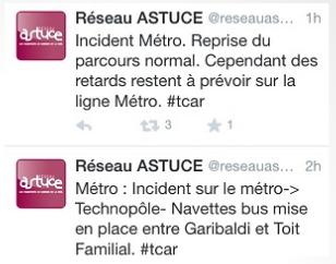 Le réseau Astuce de la TCAR a signalé l'accident à ses abonnés sur Twitter