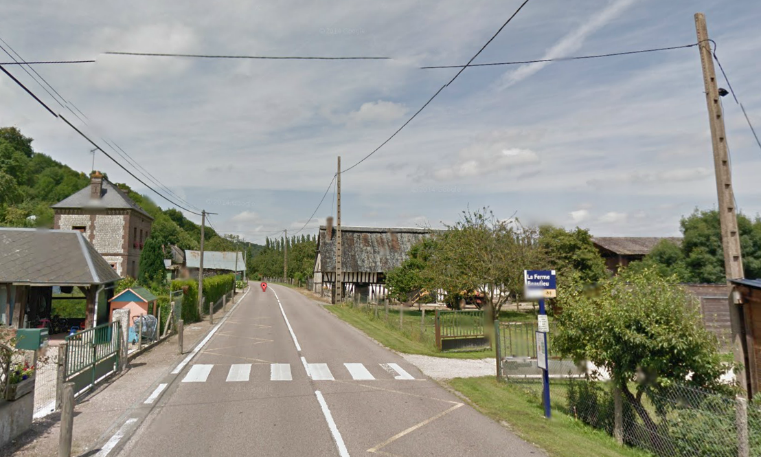 L'incident s'est produit sur cette route dans la traversée du hameau de Beaulieu, à Bardouville (@Google Maps)