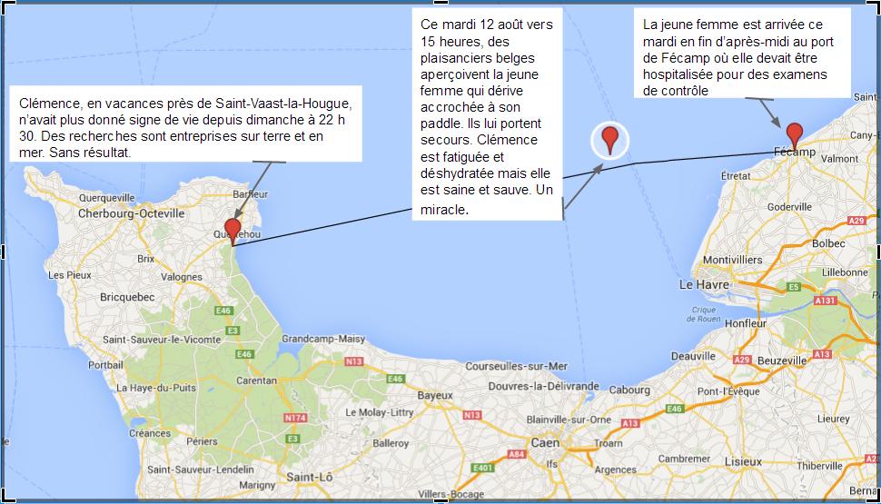 Clémence a dérivé pendant 36 heures entre Saint-Vaast-la-Hougue et Le Havre.  Elle a dû affronter des creux de quatre mètres et des vents de plus de 70 km/h (Cliquez sur le plan pour l'agrandir) @infoNormandie.com