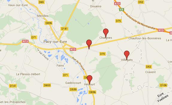 Les quatre communes sont situées à l'est de Pacy-sur-Eure
