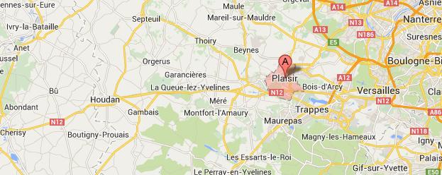 Les recherches se sont concentrées à Plaisir et dans les environs @Google Maps