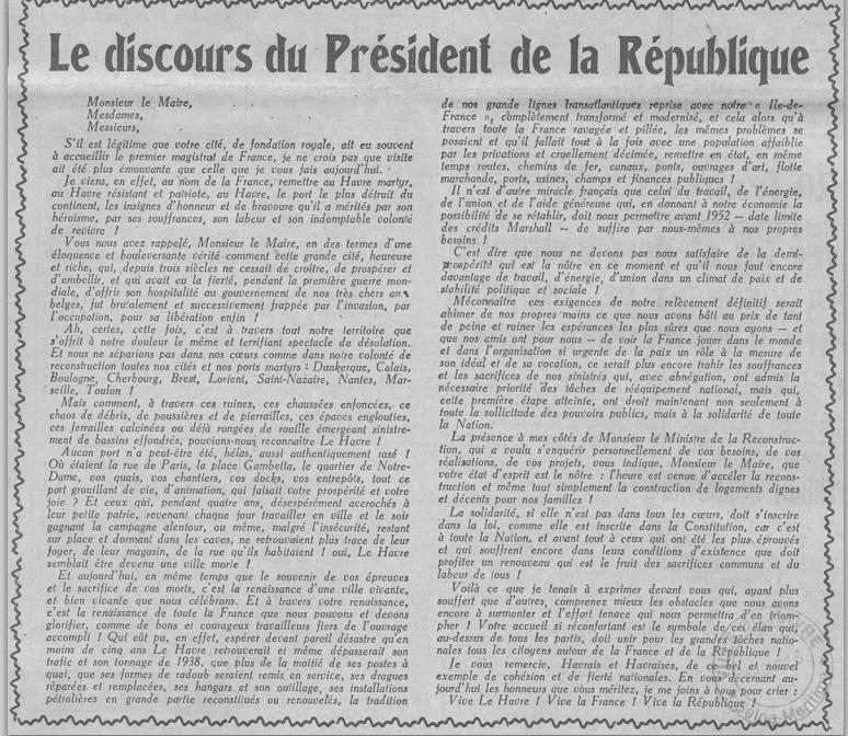 Libération du Havre : le discours de Vincent Auriol, président de la République, il y a 65 ans
