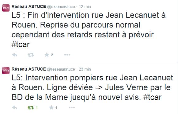 La TCAR via son compte Twitter réseau Astuce a signalé l'incident à ses usagers