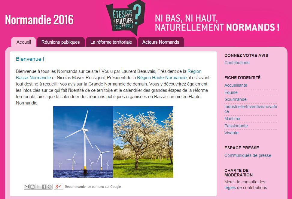 Le portail du site commun www.Normandie2016