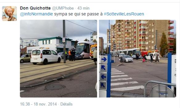 Sotteville-lès-Rouen. La Renault se met en travers du tramway : des dégâts, pas de blessé