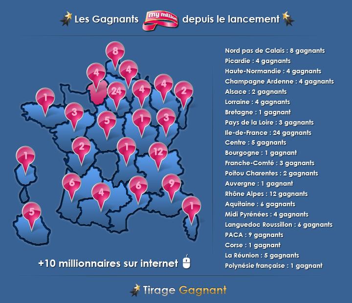 La carte des gagnants en métropole et Outre-mer (Document : tirage-gagnant.com)