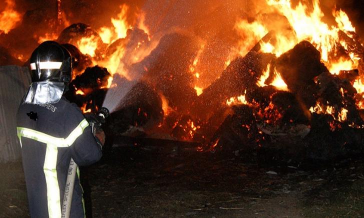 Malgré l'importance des moyens déployés, les sapeurs-pompiers n'ont pu sauver le hangar qui a été entièrement détruit (Photo d'illustration)