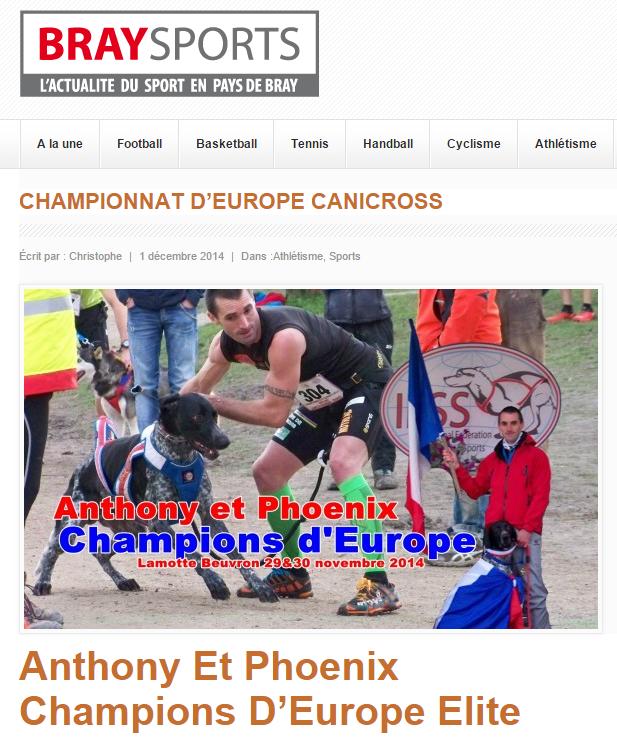 """Anthony fait la """"Une"""" de notre confrère Braysports.fr"""