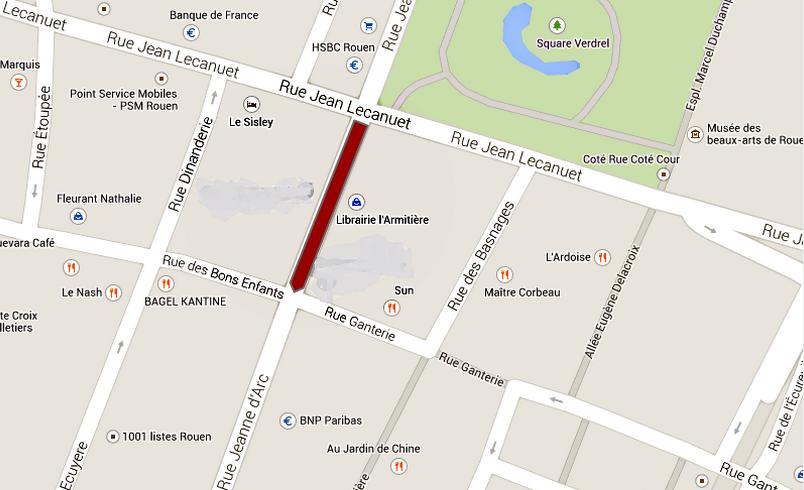 > La rue Jeanne d'Arc est fermée partiellement entre la rue des Bons enfants et la rue Jean Lecanuet
