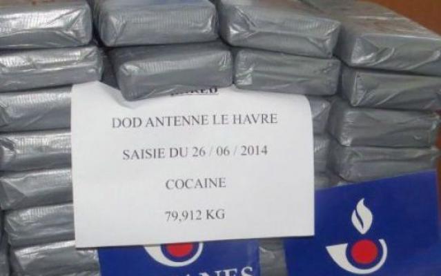 Régulièrement, les douaniers havrais font main basse sur des kilos de cocaïne dans le poret du Havre. Parmi les dernières belles prises, près de 80 kg saisis en juin dernier (Photo Douane française)