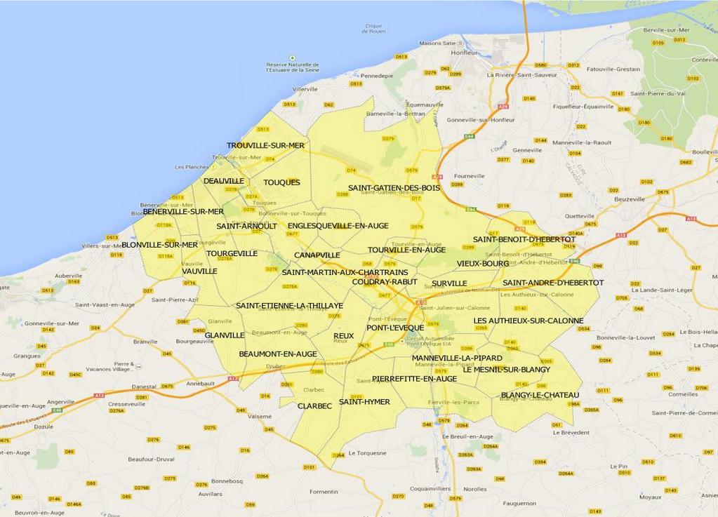 Les télespectateurs de trente-trois communes (en jaune) peuvent bénéficier d'aides de l'Etat. (Cliquez sur la carte pour l'agrandir)