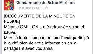 Page Facebook de la gendarmerie