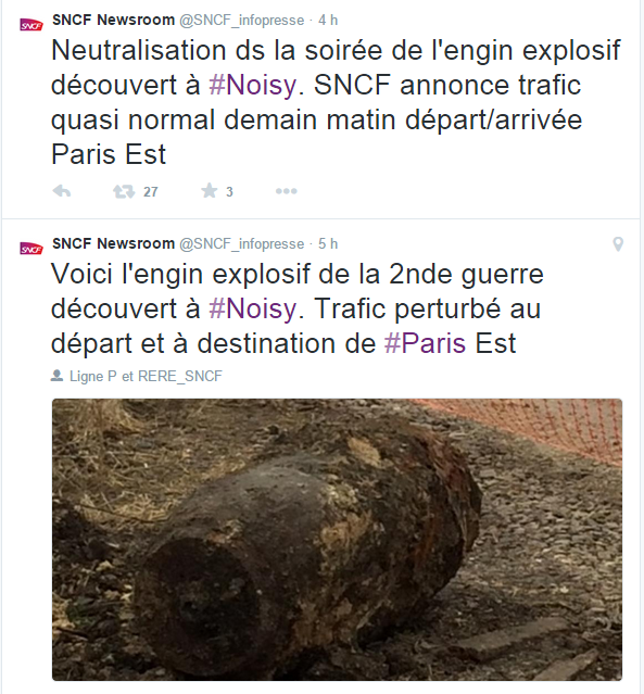 Un engin explosif bloque le trafic des trains à Noisy-le-Sec, en région parisienne