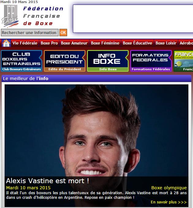 Alexis Vastine est mort ! titre le site internet de la Fédération française de boxe (FFB) ce matin (Capture d'écran)