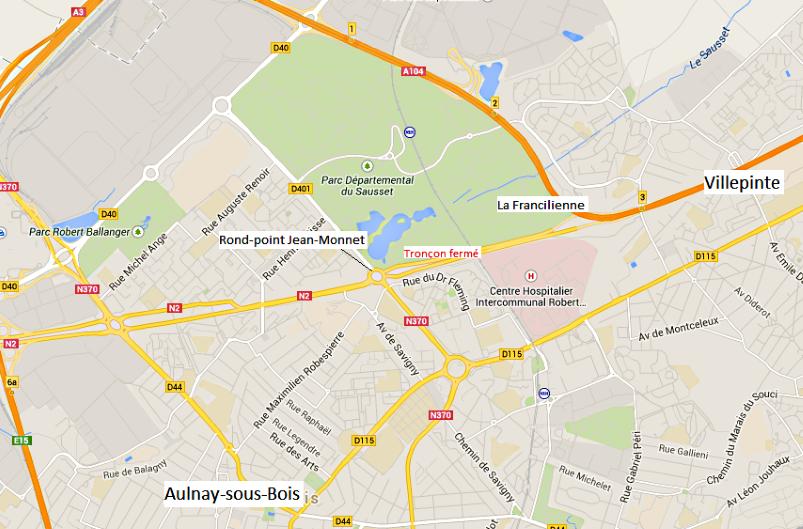 La RN 2 est fermée à partir du rond-point Jean Monnet (Aulnay-sous-Bois) jusqu'à l'entrée de la Francilienne (A104) en direction de Villepinte (Cliquer sur la carte pour l'agrandir)