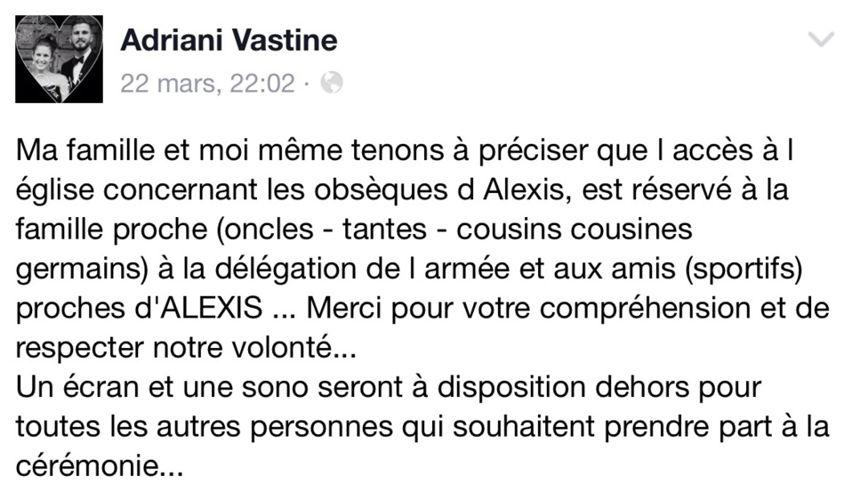 Pont-Audemer : obsèques d'Alexis Vastine dans la plus stricte intimité demain