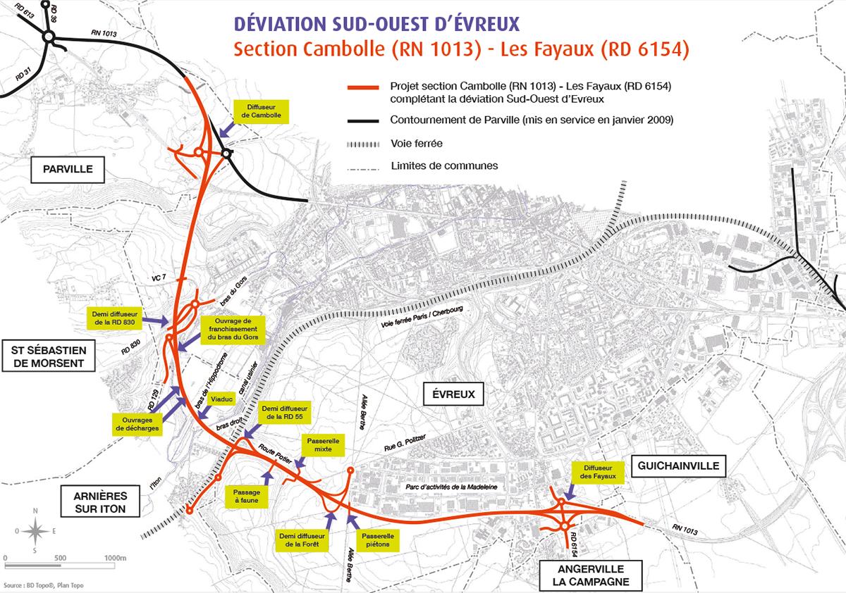 Le tracé de la future déviation sud-ouest d'Evreux