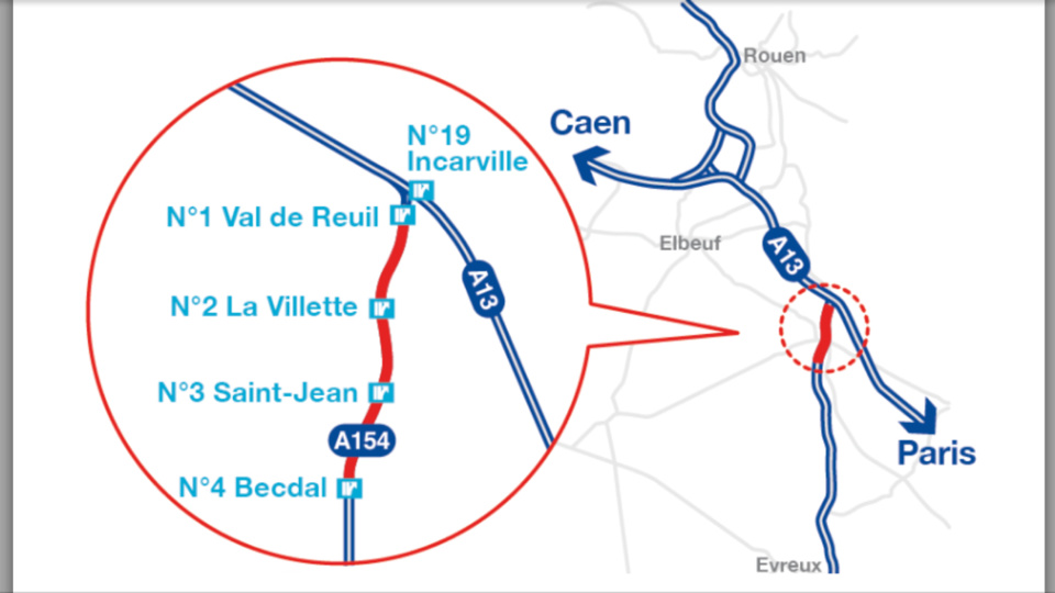 Depuis ce matin, 16 km de l'A154 en travaux entre Val-de-Reuil et Acquigny (Eure)