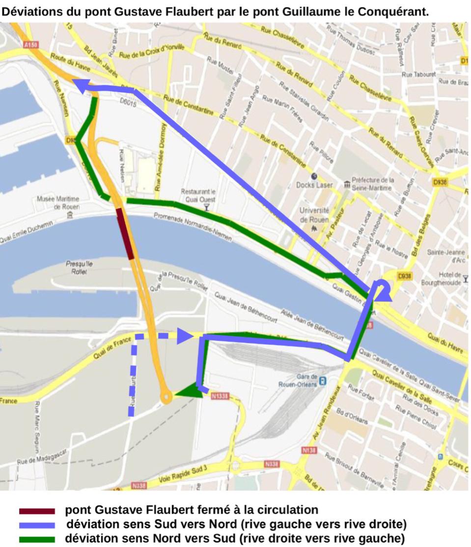 Travaux aux abords du pont Flaubert pendant deux nuits : des déviations mises en place à Rouen