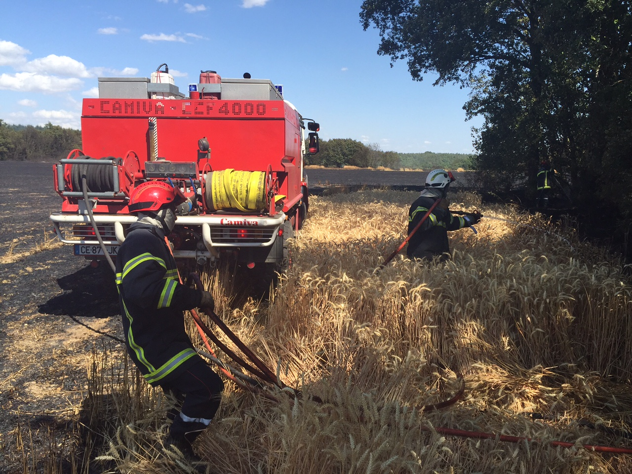 50 sapeurs-pompiers du département ont été mobilisés tout l'après-midi pour des feux de récolte et de taillis dans le sud de l'Eure (Photos @DR)
