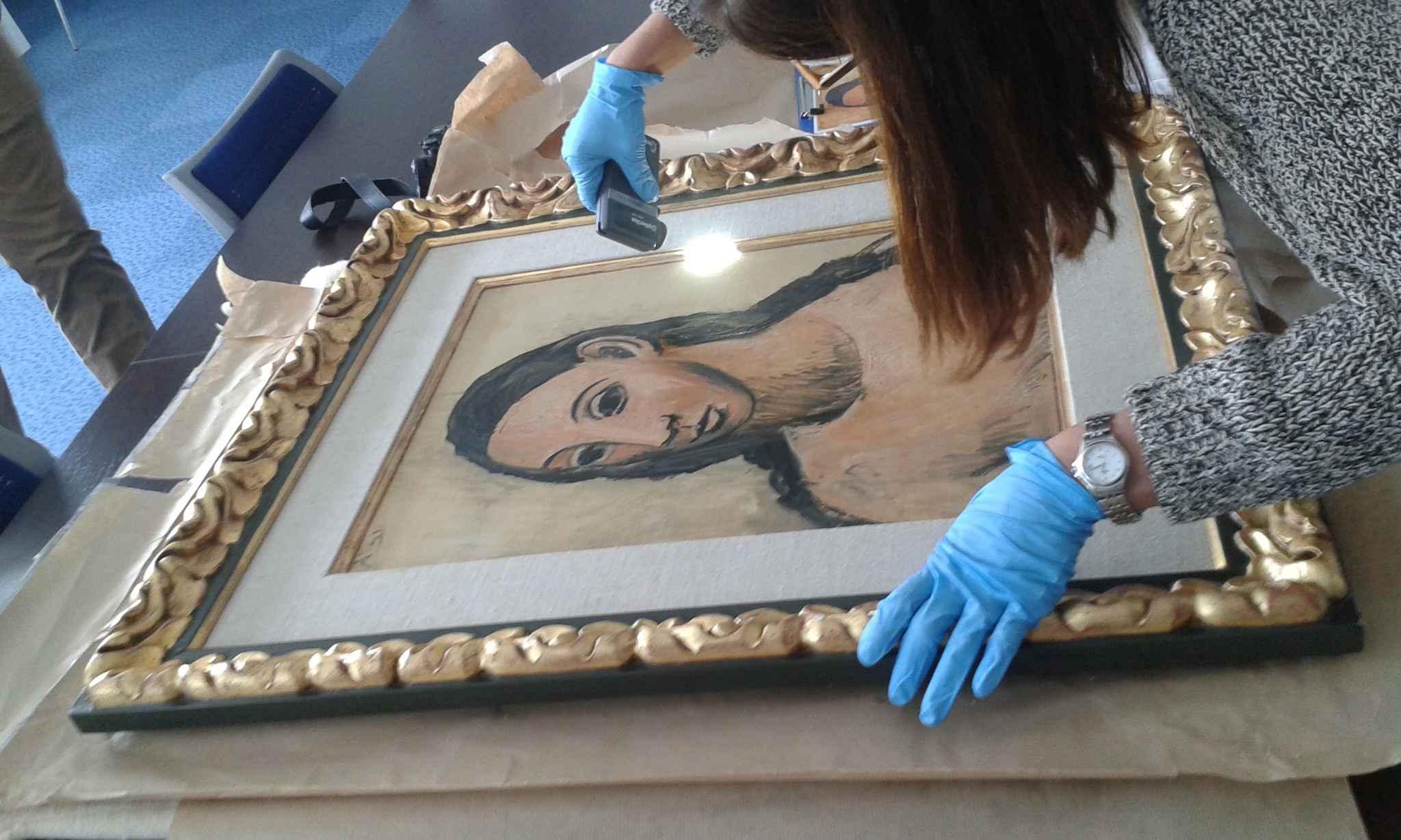 """Le tableau de Pablo Picasso """"Head of A Young Woman"""" a été saisi sur le yacht d'un banquier espagnol vendredi dernier par les douanes françaises. (Photo @Douane française)"""