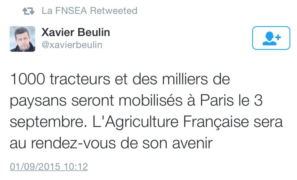 Xavier Beulin est le président de la Fédération nationale des syndicats d'exploitants agricoles (FNSEA)