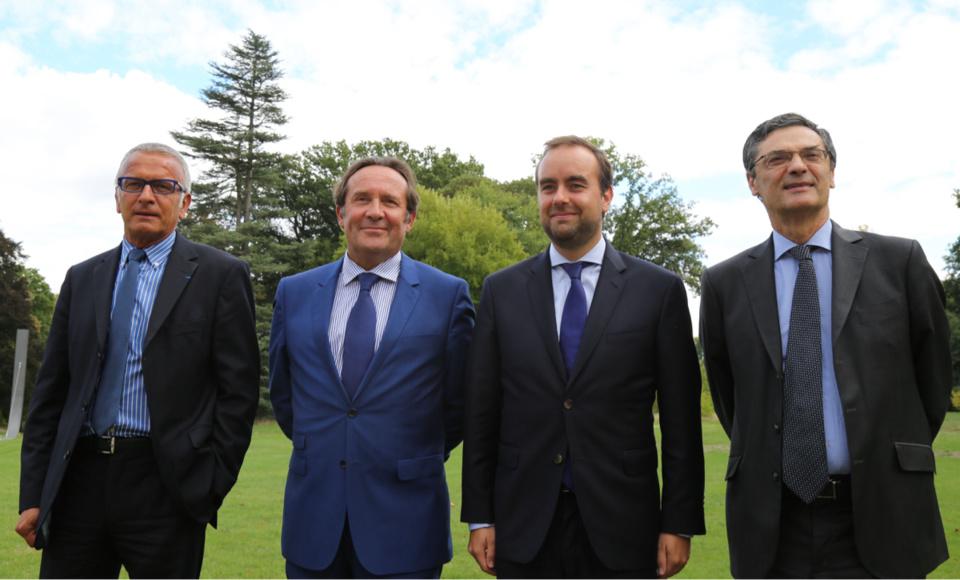 De gauche à droite, les quatre présidents : Pascal Martin (Seine-Maritime), Pierre Bédier (Yvelines), Sébastien Lecornu (Eure) et Patrick Devedjian (Hauts-de-Seine)