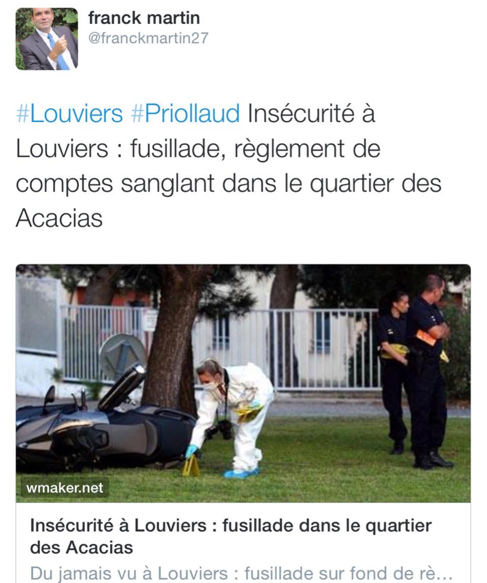 Trois blessés dans une fusillade à Louviers cet après-midi