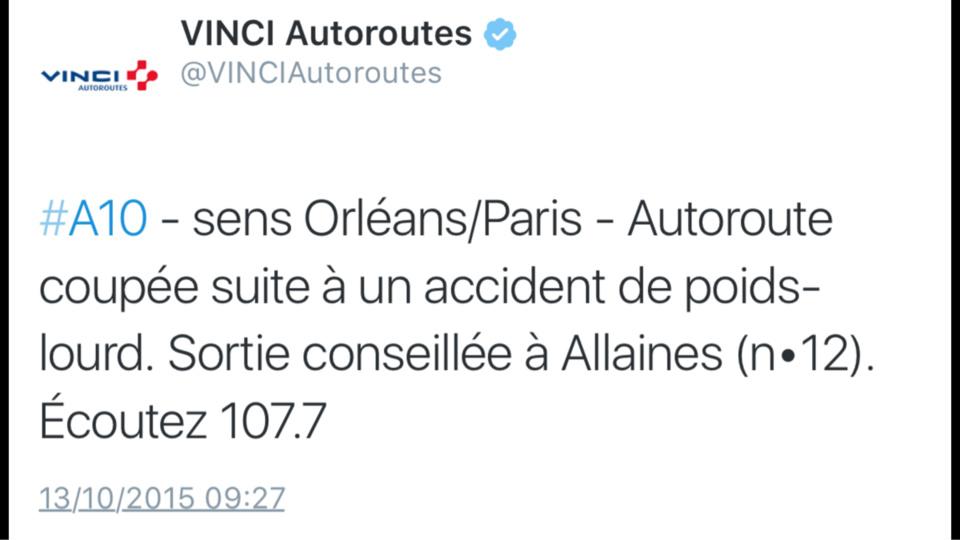 L'A10 fermée vers Paris à cause d'un accident de poids-lourd en Eure-et-Loir