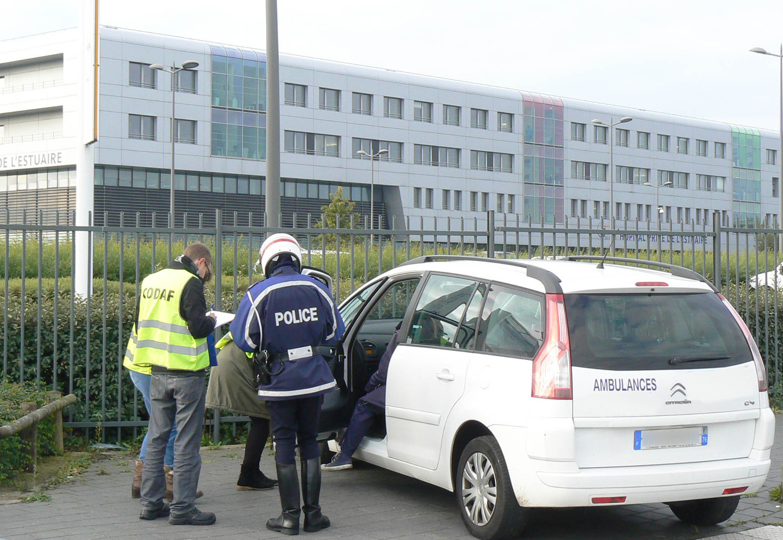 Les contrôles ont été effectués aux abords de l'hôpital privé de l'Estuaire au Havre le 15 octobre.