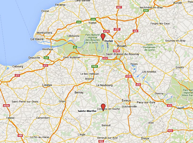 Deux morts, quatre blessés graves dans deux accidents en quelques heures en Haute-Normandie (Cliquer sur la carte pour l'agrandir)
