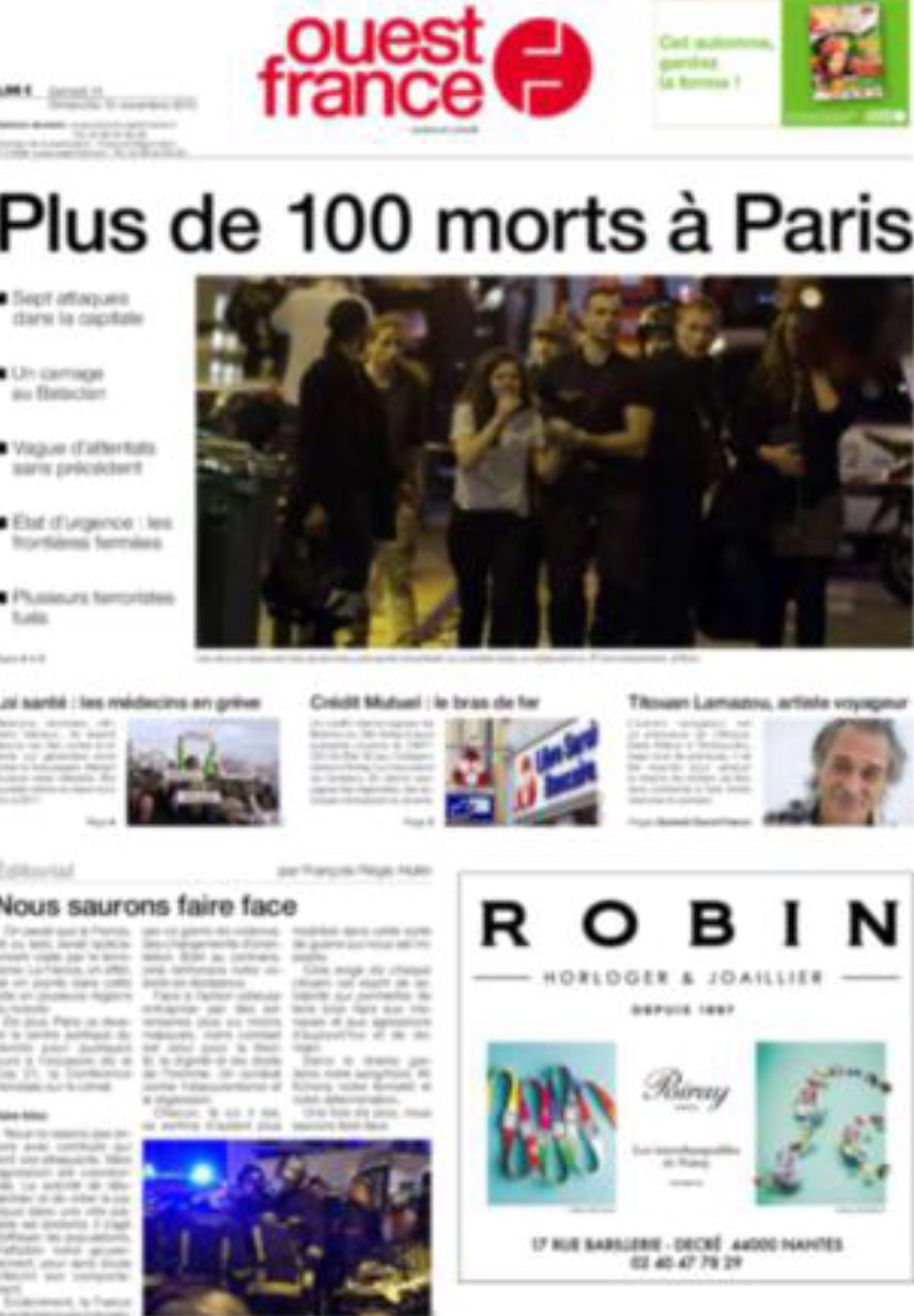 Attentats de Paris : au moins 120 morts. L'Etat prend des mesures exceptionnelles