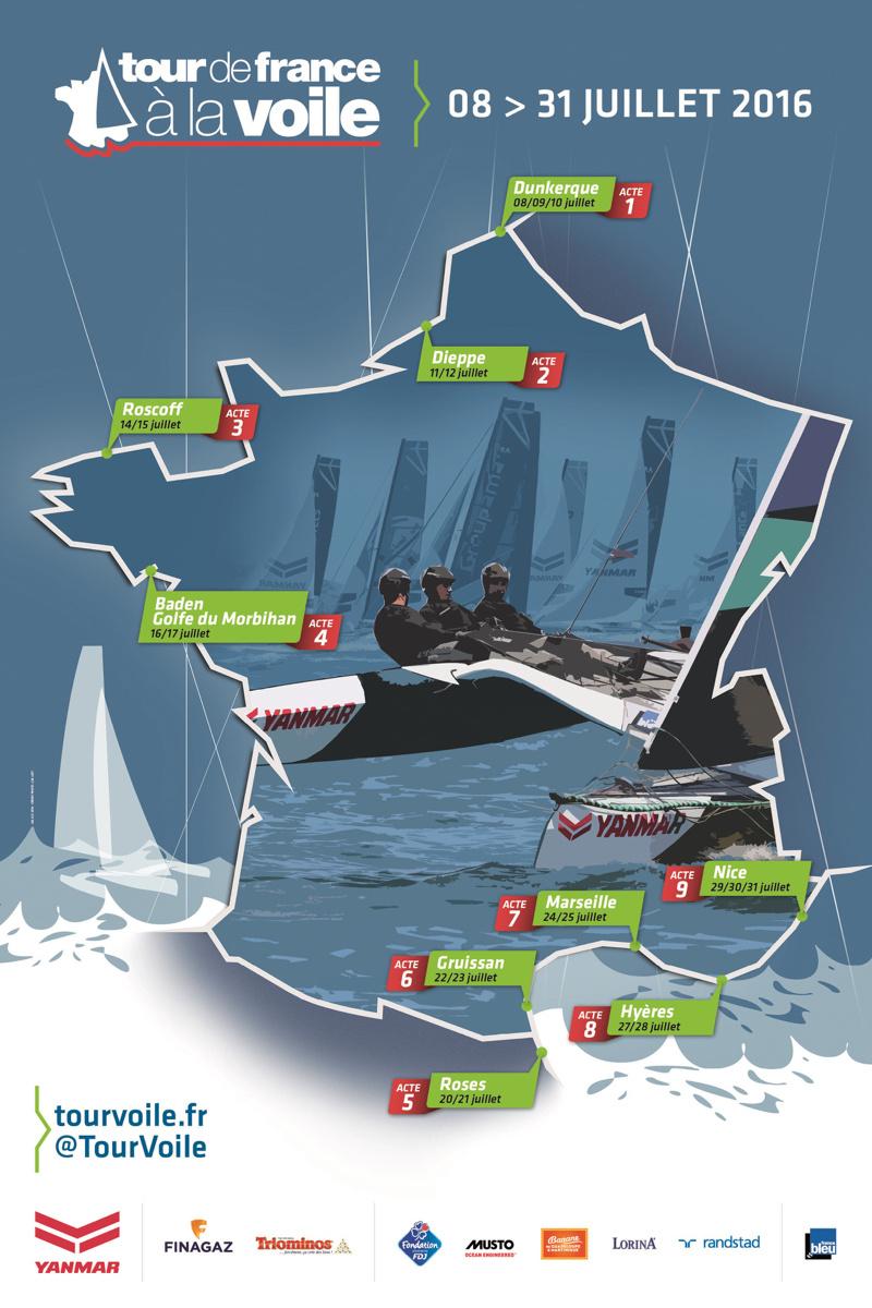 Carte du Tour de France à la voile : étape à Dieppe les 11 et 12 juillet 2016
