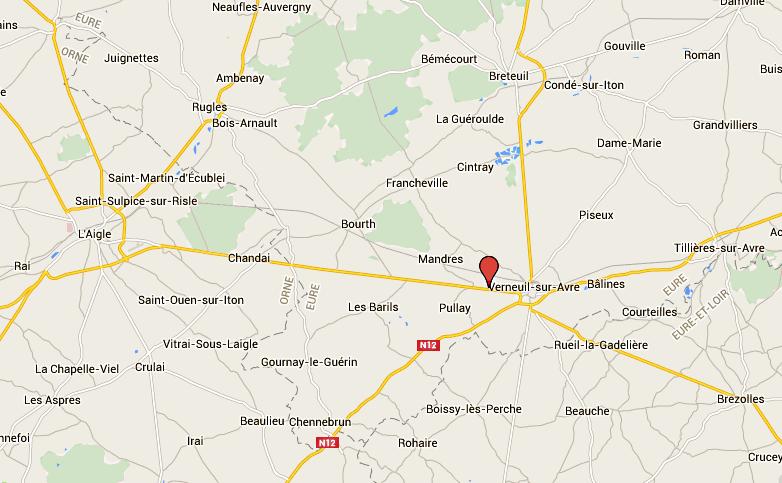 L'accident s'est produit sur la route départementale 926 entre Verneuil-sur-Avre et l'Aigle