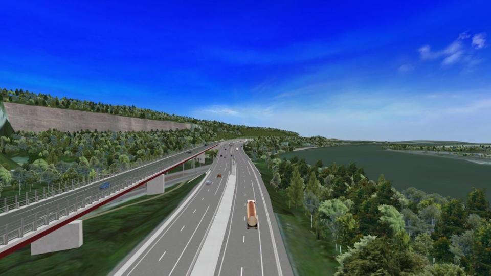 Sur ce dessin d'artiste, la préfiguration de ce que sera le futur viaduc de Guerville, dans les Yvelines, en 2020 (Illustration@Sanef)